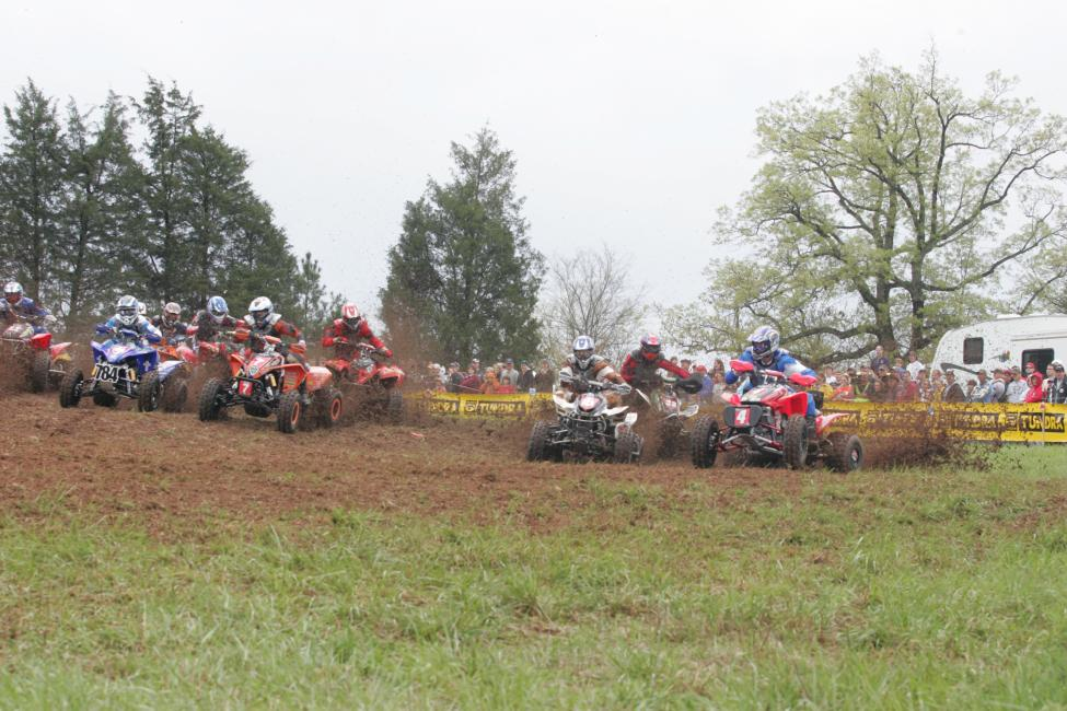 The XC1 ATV class blasts off the start of the 2008 Big Buck GNCC.