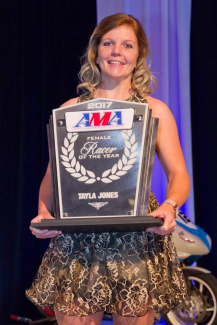 Tayla Jones was acknowledged for her 2017 GNCC championship, in addition to earning two other titles last season.