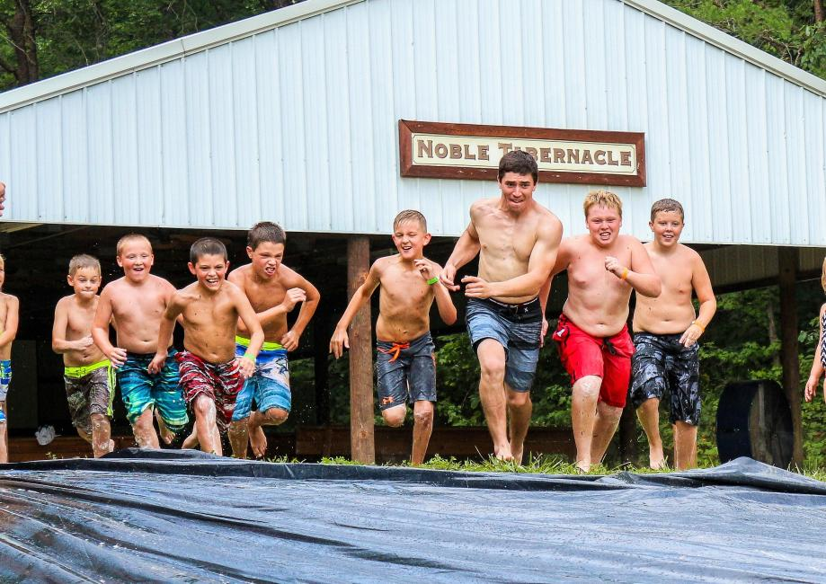 Walker Fowler led the pack of kids down the slip-n-slide during this past summer's ATV camp.