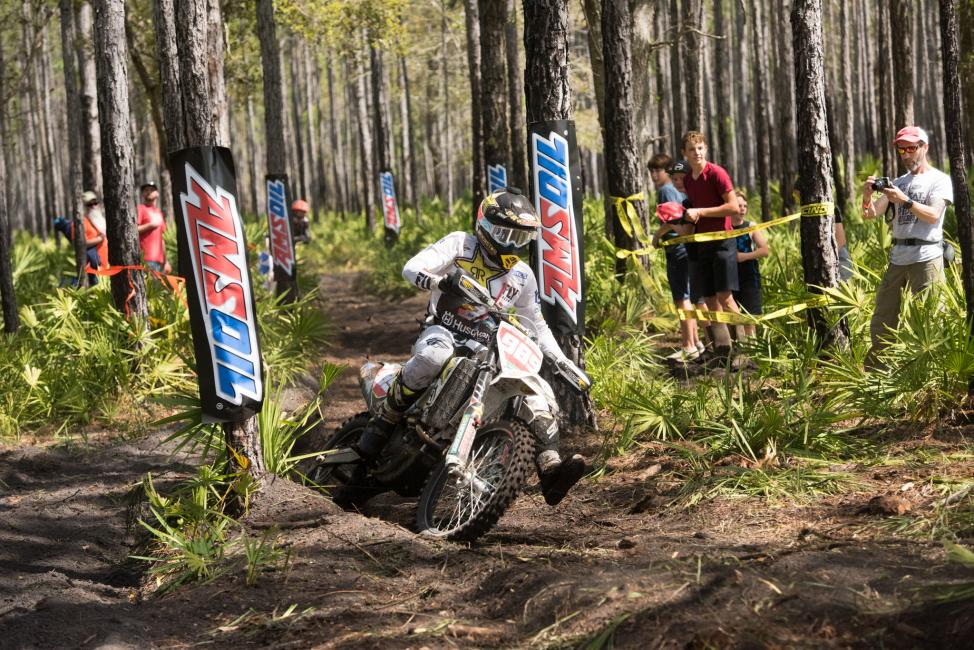 Rockstar Energy Husqvarna Factory Racing's Thad Duvall finishes third at the Wild Boar GNCC Rd 2.