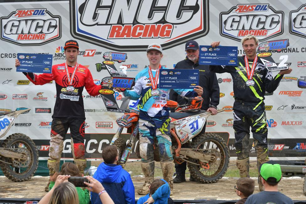 Jesse Ansley (center) earned the FMF XC3 125 Pro-Am class win followed by Christopher Venditti (right), and Alex Teagarden (left).