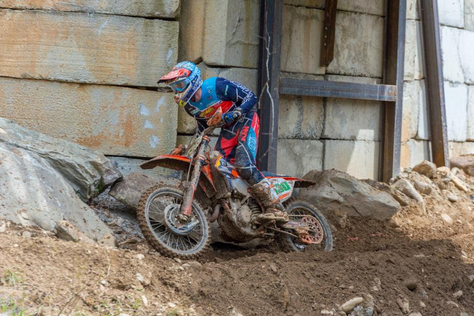 Ben Kelley charging to his third win in a row in GNCC XC2 250 Pro class.