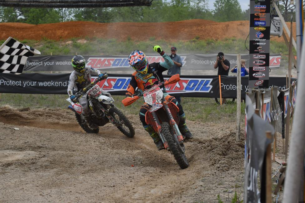Kailub Russell (#1) and Thad Duvall (#989) have been battling to the checkered flag for the last couple rounds, only time will tell who will take home the win this weekend at the X-Factor Whitetails GNCC.