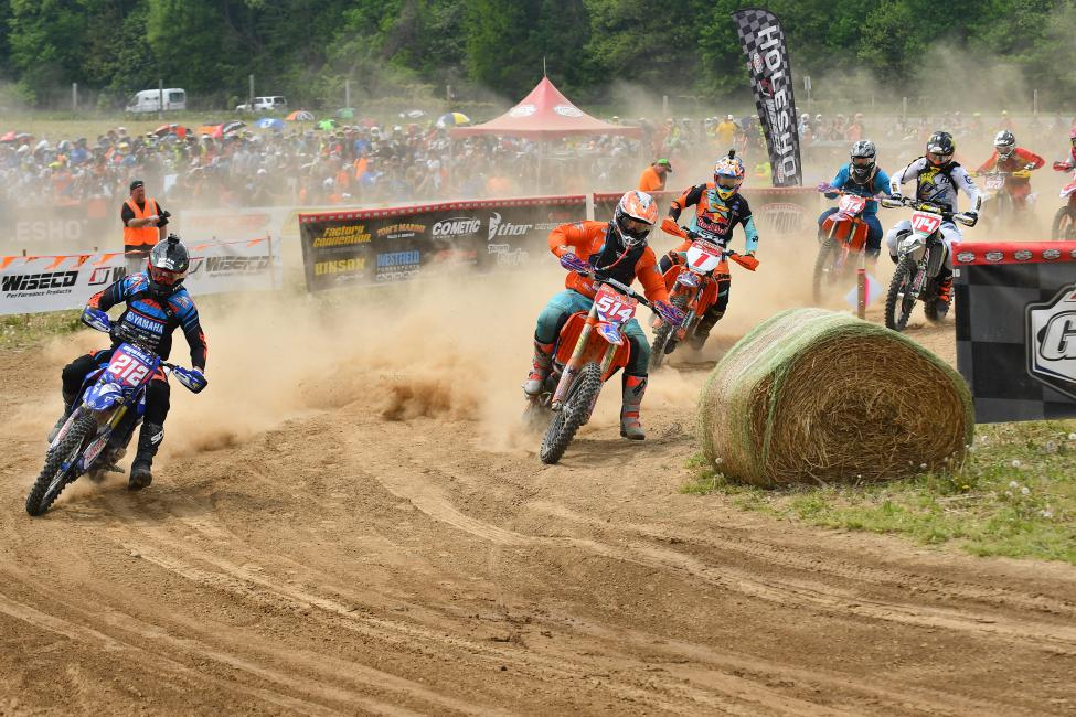 Steward Baylor Jr. (#514) grabbed the XC1 holeshot, but Ricky Russell and Kailub Russell were not far behind.