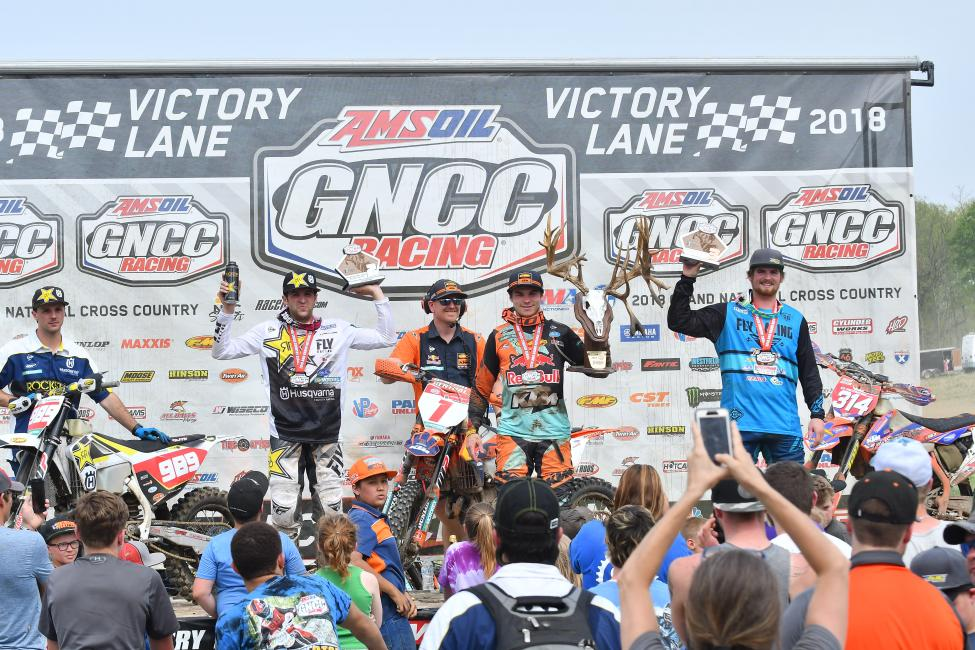 Kailub Russell (center), Thad Duvall (left) and Grant Baylor (right) rounded out the X-Factor Whitetails GNCC podium.