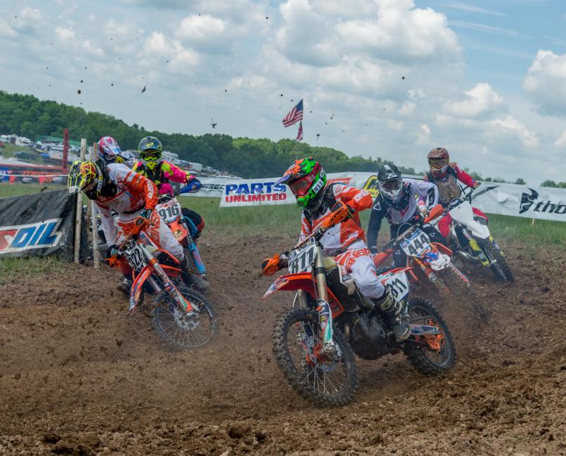 Simon (811) and Owen (322) ride FMF equipped KTM 250 XC-F bikes from Edelmann Sales in Troy, New York.