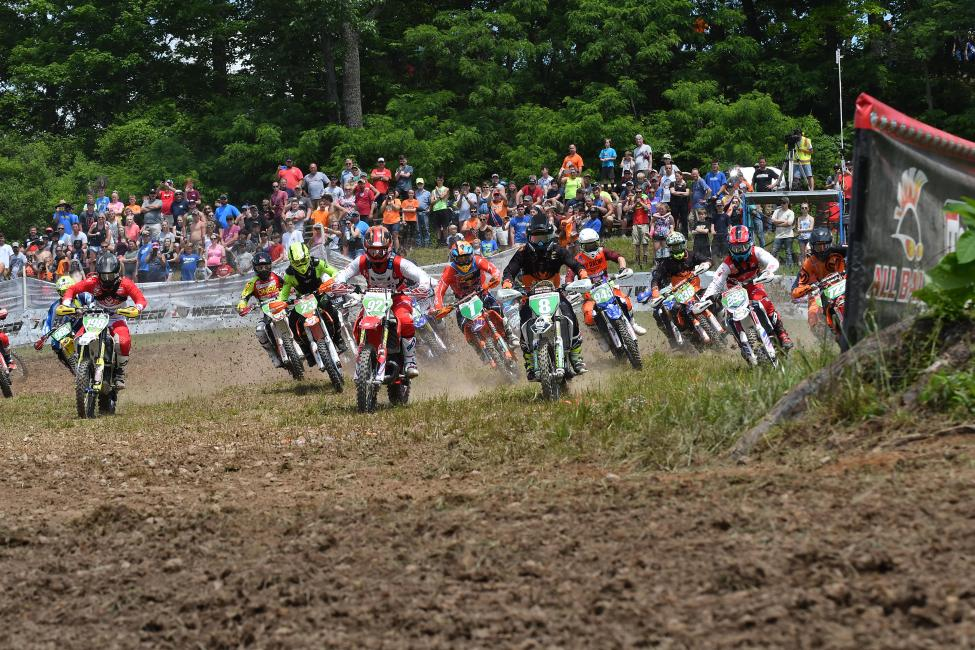 Nick Davis #927 and Craig Delong #8 were neck-and-neck for the holeshot at The John Penton.