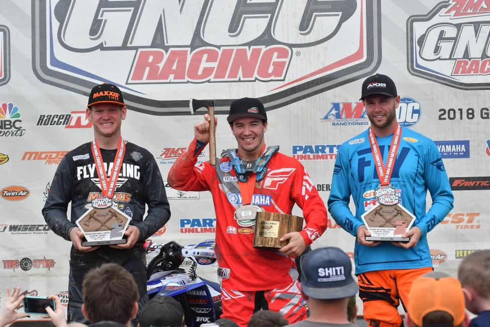 Walker Fowler (center), Chris Borich (left) and Brycen Neal (right) rounded out the overall podium at the Dunlop Tomahawk GNCC.