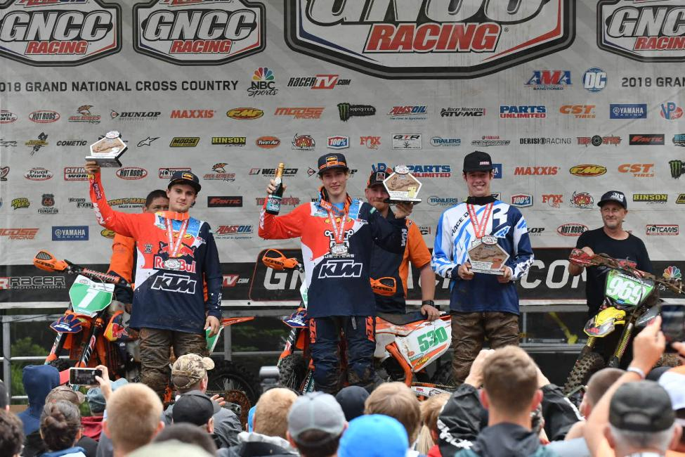 Ben Kelley (center) took home the XC2 250 Pro class win.