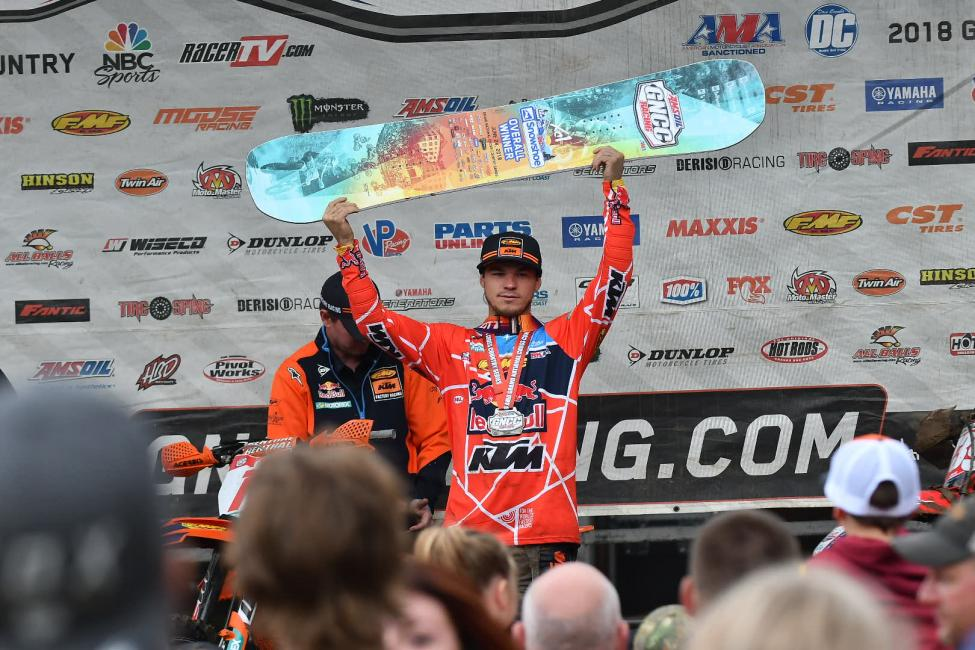 Kailub Russell earned the coveted AMSOIL Snowshoe GNCC win.