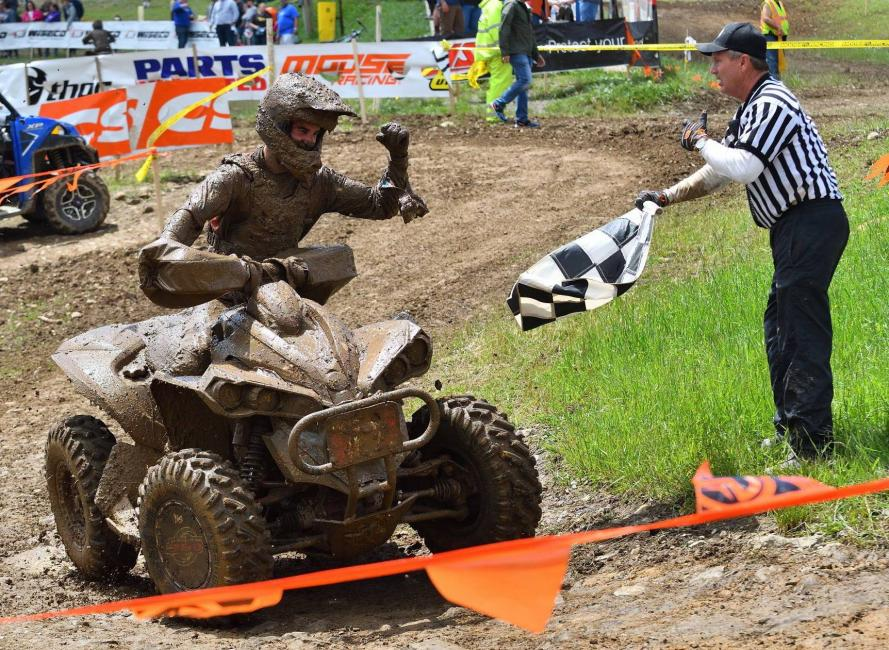 Landon Wolfe posted his second straight GNCC win aboard his Can-Am Renegade X xc 1000R ATV, outlasting the mud and his factory teammate and current 4x4 Pro ATV class points leader Kevin Cunningham, who took second place.