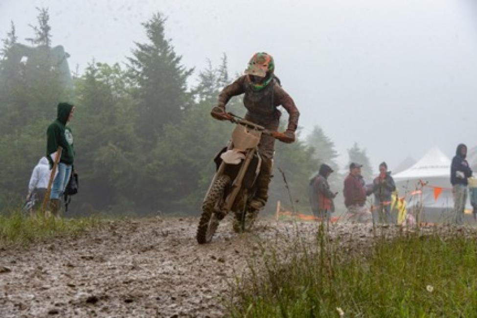 Simon Johnson on the 250 A podium again at Snowshoe GNCC. (photo by Darrin Chapman)