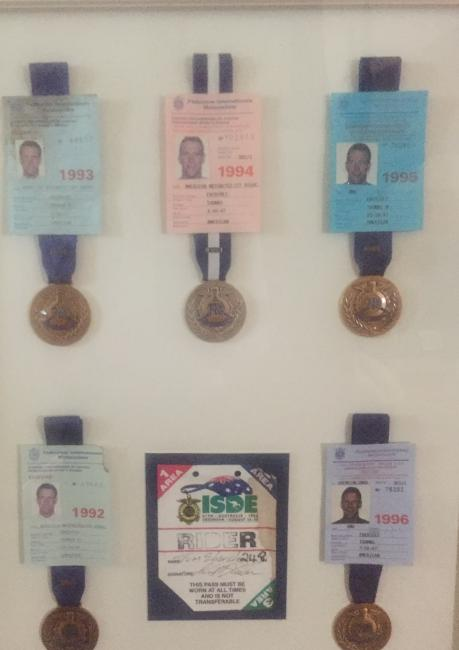 Tom Ebersole's ISDE medals throughout the years.