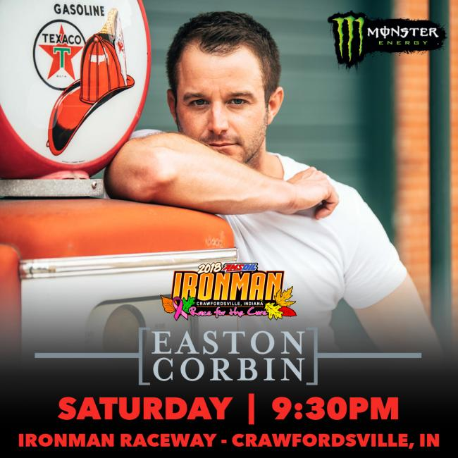 Easton Corbin is set to perform at this year's AMSOIL Ironman GNCC on Saturday, October 27.
