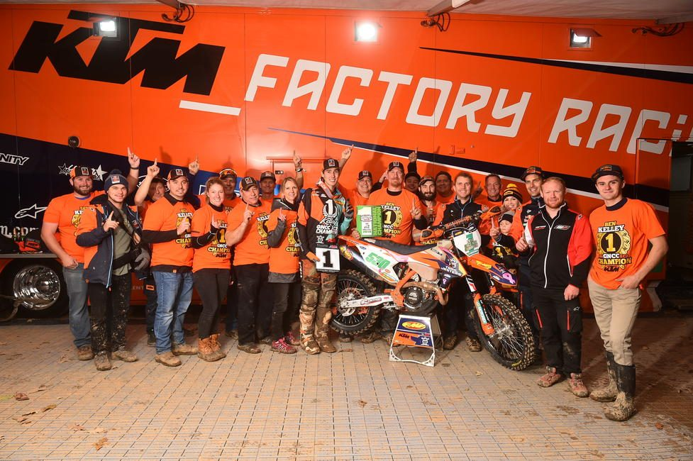 Ben Kelley celebrates his first-career XC2 250 Pro National Championship with his team, family and friends after the Ironman GNCC.
