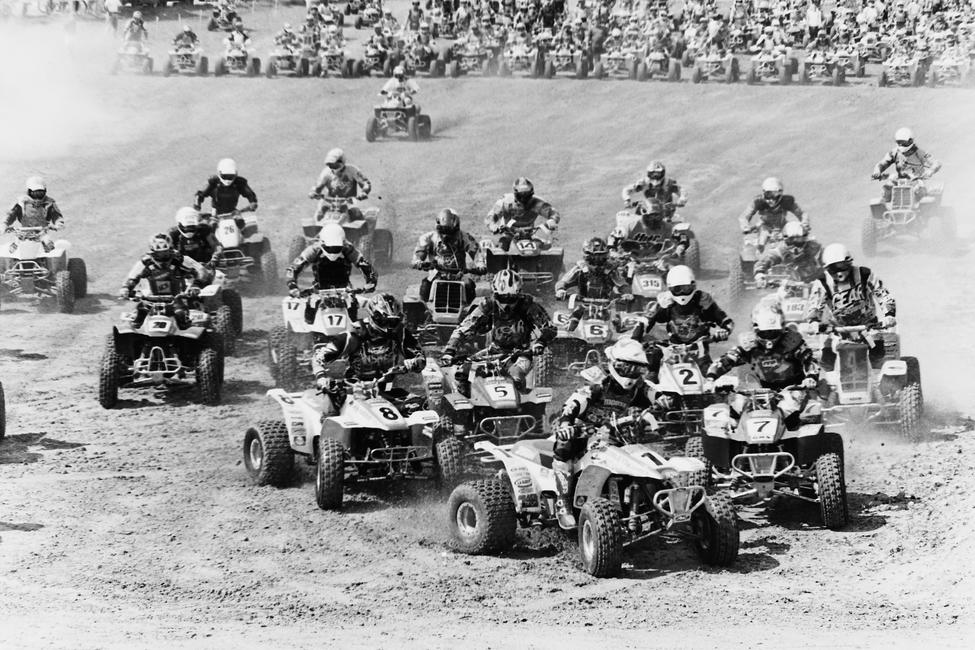 Here's some ATV start action at the 1997 Ocala GNCC in Florida. Thats Barry Hawk (1) out front and other riders include William Yokely (7), Kim Kuhnle (4), Chad Duvall (2), Wayne Darnold (6), Bill Ballance (5), Matt Smiley (8), Daniel Baggett (17), Jason Griffith (315), Bryan Hulsey (14) and a crop of other guys who's numbers are hard to read.
