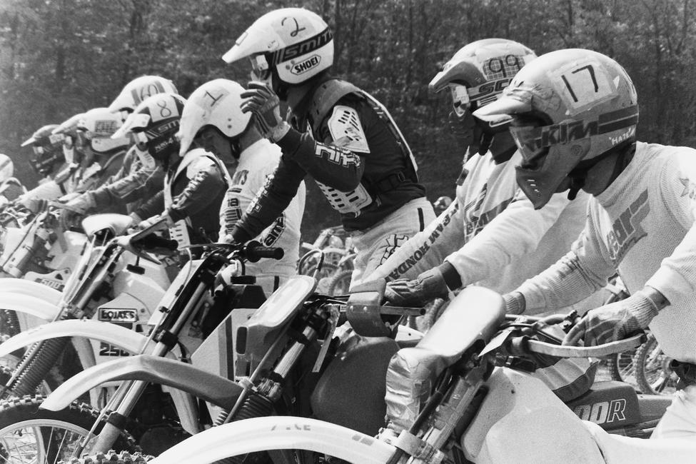 Here's the front line at the 1987 Fall Big Bear GNCC. That's our own Tommy Harris (17) lined up with Scott Summers (99), Ed Lojak (2), Joe Lojak (1), Duane Conner (8), Greg Holden (60) and the further number that is hard to read looks to be Rick Parsons (646)