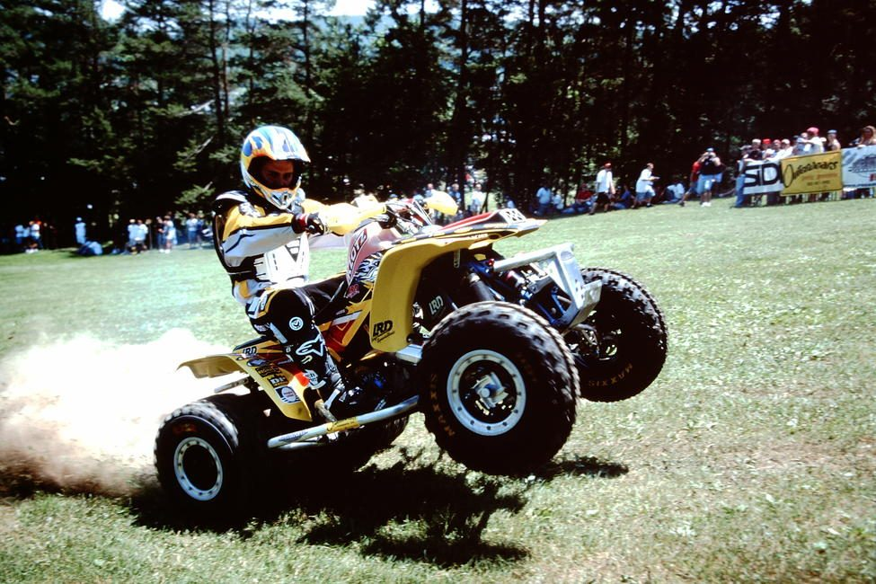 Bill Ballance rolls to the line at the 2003 Wisp GNCC.
