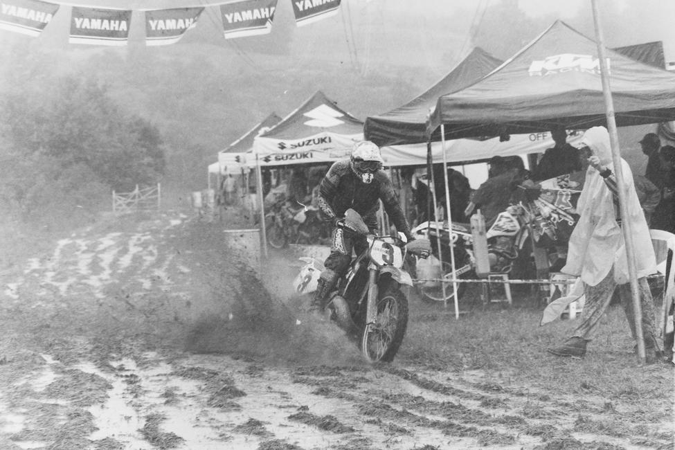 Fred Andrews splashes his away around the track at a muddy High Point GNCC in 1996.