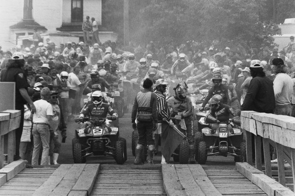 ATV riders wait on the start of the 1988 Blackwater 100!