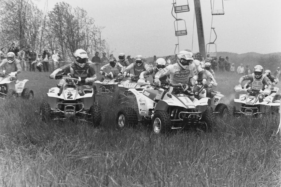 Here's some start action at the 1990 Winterplace GNCC. That's Chuck Dellulo on the #2, Ricky Matteson on the #213, Tim Prechtl on the #12, Bob Sloan on the #1 and Mike Holbert on the #7 machine.