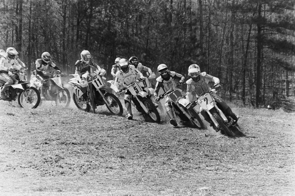 This one comes from the start of the 1989 Sand Flea GNCC. From the far left that's Robby Neeley on the 114, Davey Coombs (11), Steve McSwain (5), Keith Rodgers (9), Ed Lojak (1) and Kevin Brown (2)