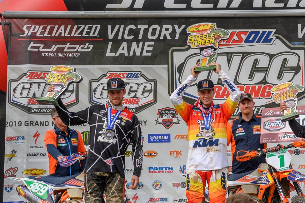 Ben Kelley and Johnny Girrior on the podium at Steele Creek.