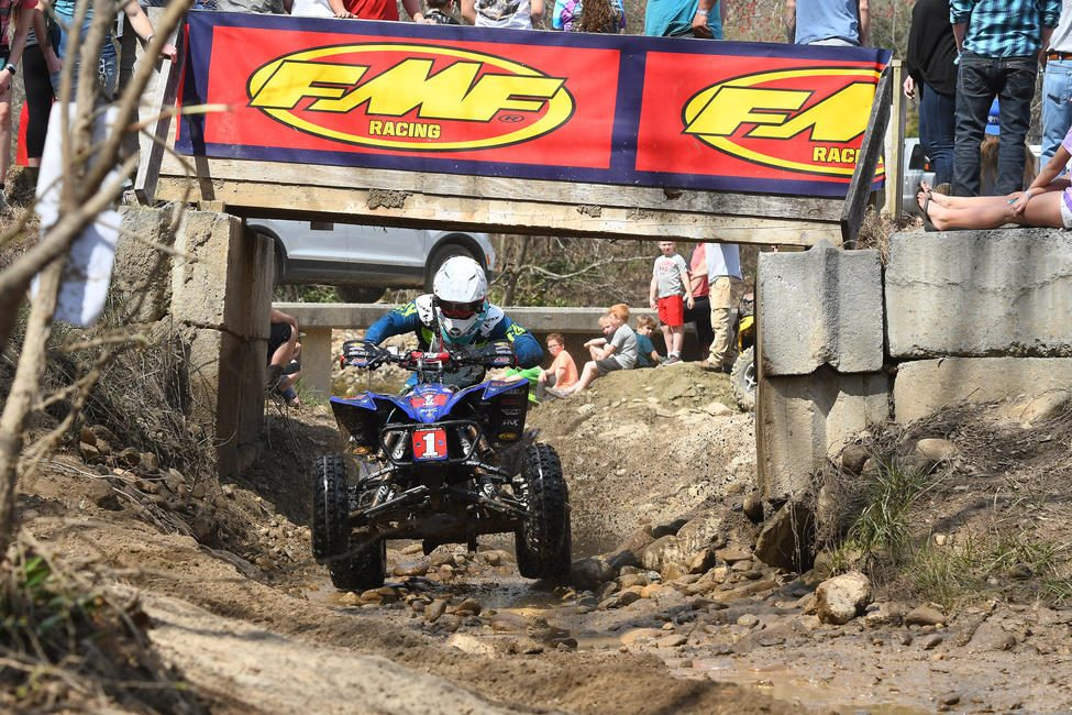 Walker Fowler navigating through the famous bridge section at the Steele Creek GNCC.