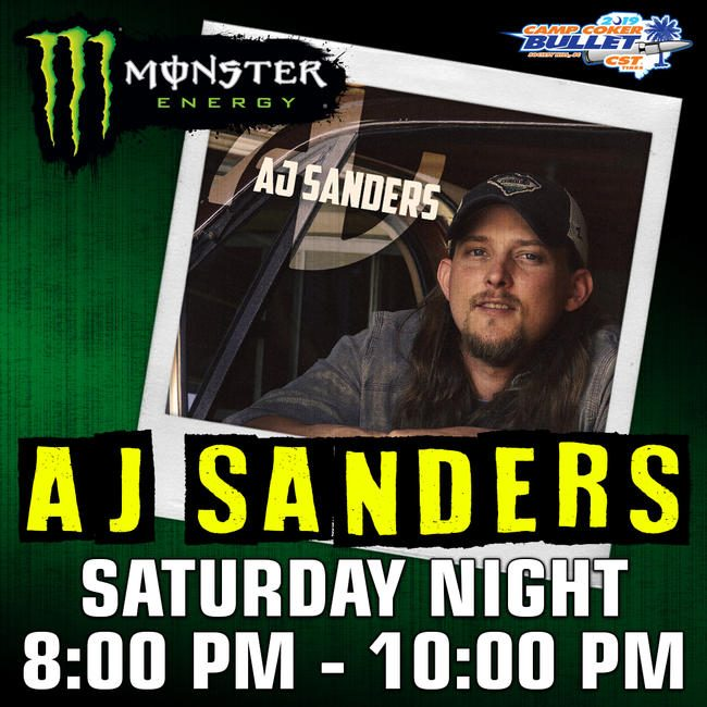 Don't miss the live concert presented by Monster Energy Saturday night with AJ Sanders.