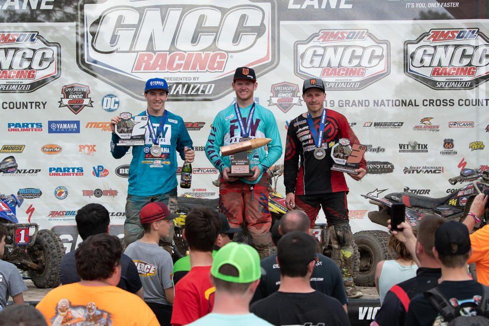 Chris Borich (center), Walker Fowler (left) and Jarrod McClure (right) rounded out the CST Tires Camp Coker Bullet GNCC podium.