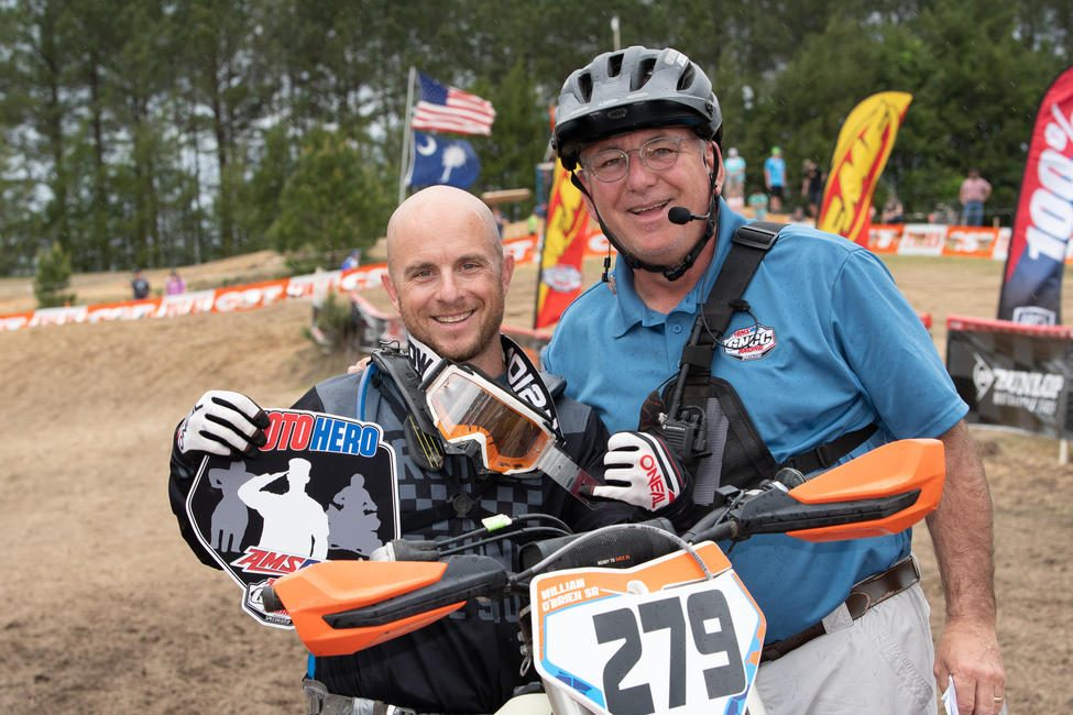 William O'Brien was presented the AMSOIL Moto Hero award at the Camp Coker Bullet GNCC.