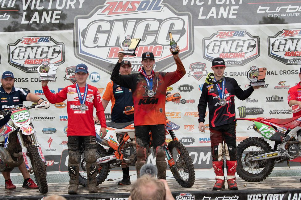 Ben Kelley (center), Michael Witkowski (left) and Austin Lee (right) earned the top three in the XC2 250 Pro class.