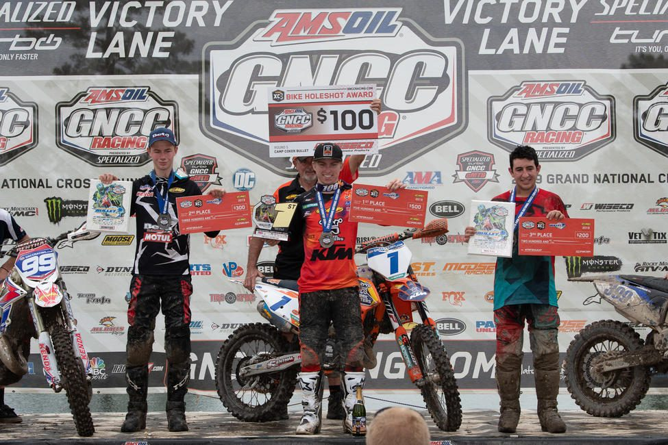 Jesse Ansley (center), Cody Barnes (left) and Anthony Federico (right) earned the top three spots in the FMF XC3 125 Pro-Am class.