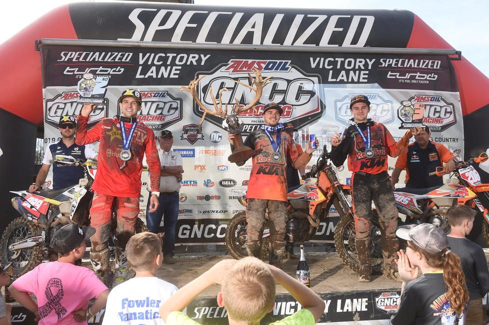 Kailub Russell (center), Thad Duvall (left) and Josh Toth (right) rounded out the previous GNCC's overall podium.