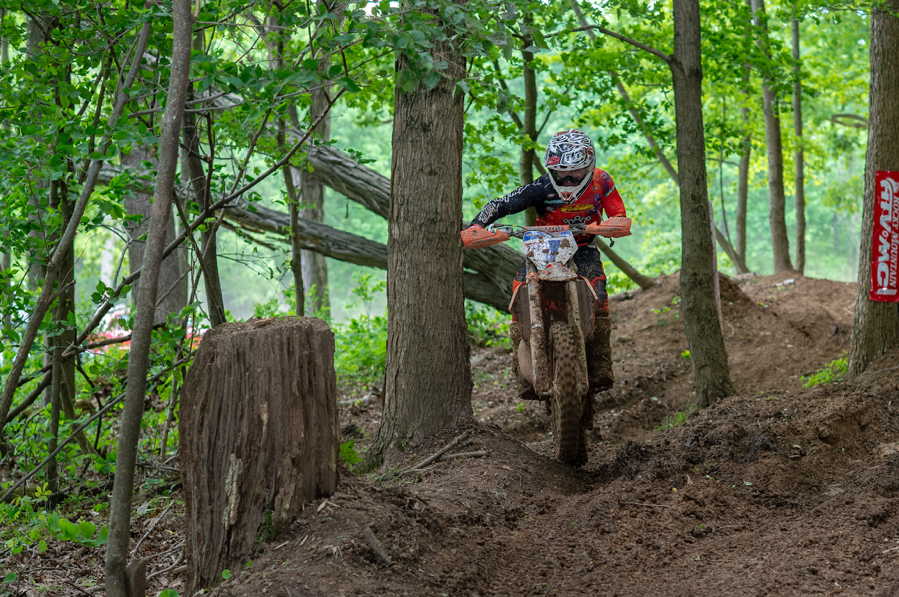 Jesse Ansley singing his Trail Jesters KTM through the Ohio woods. Darrin Chapman