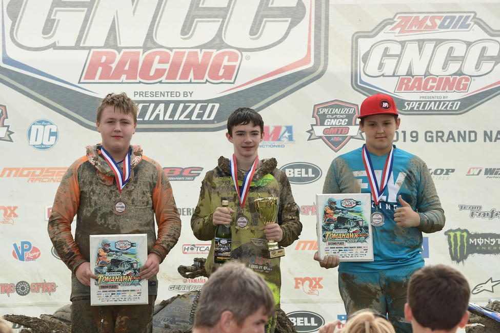 Damien Hawkins (center), Parker Henderson (right) and Nicholas Dearing (left) came through as Tomahawk's top three youth ATV racers.
