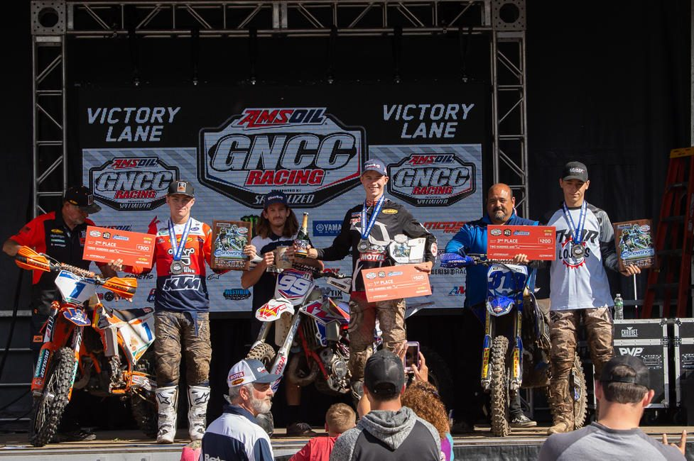 Cody Barnes (center), Jesse Ansley (left) and Chase Colville (right) rounded out the FMF XC3 125 Pro-Am class podium.