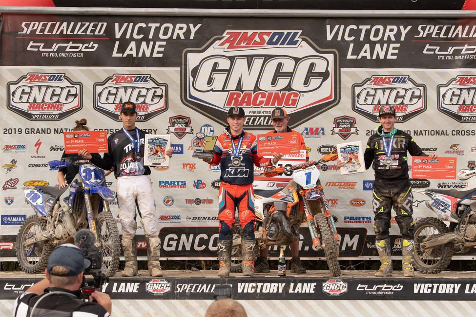 Jesse Ansley (center) earned the FMF XC3 class win and has taken over the points lead as GNCC heads into the last three rounds.