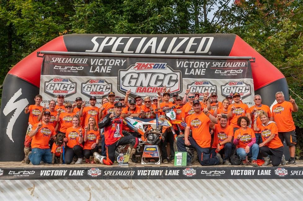 The Trail Jester KTM Racing team celebrating Ben Kelley's 2019 XC2 Championship.