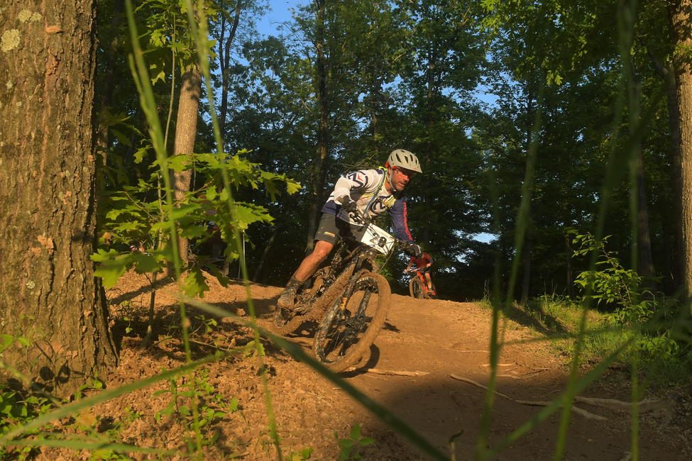Barry Hawk joining in the eMTB racing at John Penton GNCC.