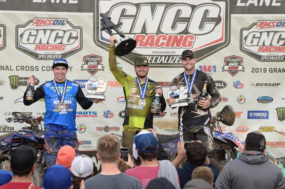 Cole Richardson (center), Brycen Neal (right) and Walker Fowler (left) rounded out the Yamaha Mountaineer overall ATV podium.