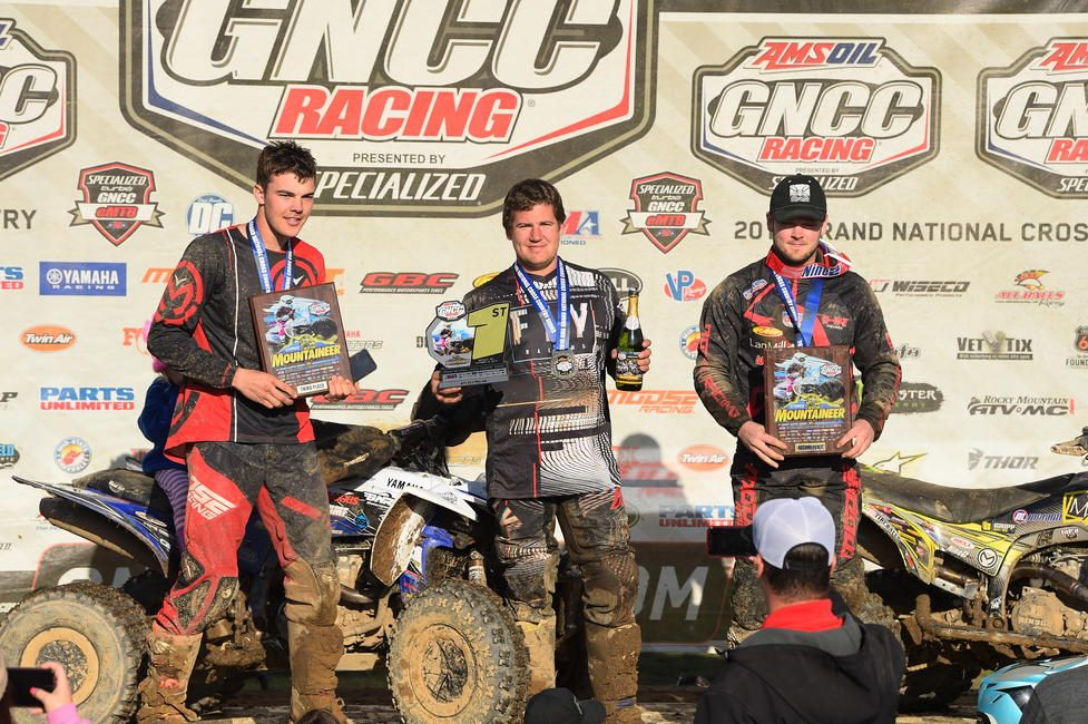 Jordon Poplaski (center), Drew Landers (right) and Wyatt Wilkin (left) rounded out the XC2 Pro-Am class podium.