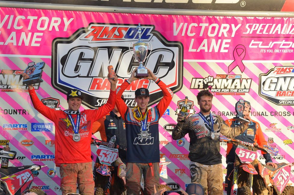 Ben Kelley (center), Trevor Bollinger (left) and Steward Baylor Jr. (right) rounded out the final podium of the 2019 season at the AMSOIL Ironman GNCC.
