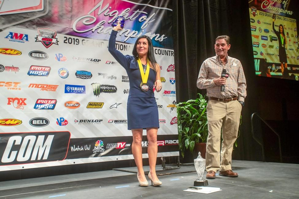Traci Pickens took home the ATV Rider of the Year award Friday at the GNCC Banquet, and the ATV Athlete of the year honors Saturday at the AMA Banquet.