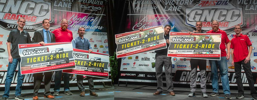 Michael Relyea and Robbie Pecorari were the Ticket-2-Ride winners at the ATV banquet, while Matt Sorge and Chase Colville along with Racer Producitons' Ryan Echols won the Ticket-2-Ride Saturday night at the bike banquet.