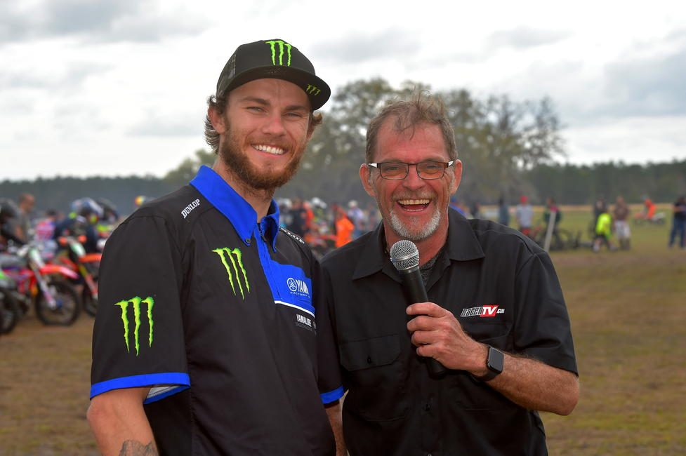 Yamaha's Aaron Plessinger attended the Wild Boar GNCC Sunday as the Grand Marshal of the event to sign autographs and cheer on the riders.