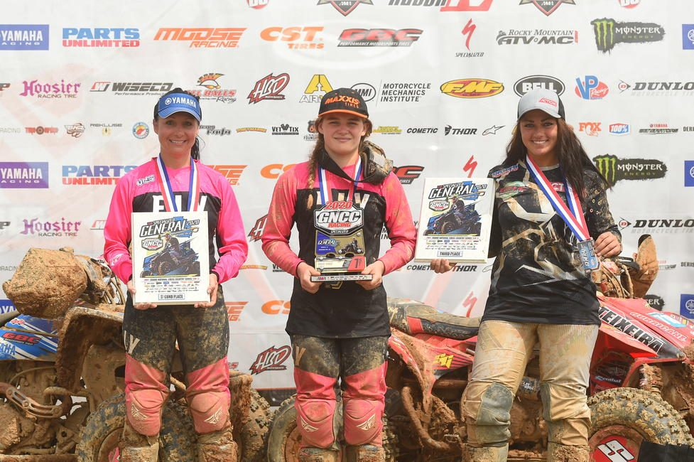 Hannah Hunter (center), Traci Pickens (left) and Katelyn Osburn (right) rounded out The Specialized General GNCC WXC ATV top three.