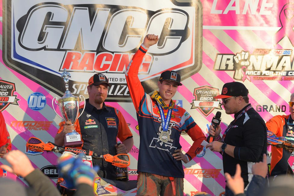Ben Kelley earned the Ironman GNCC overall win after only his second race in the XC1 Open Pro class.