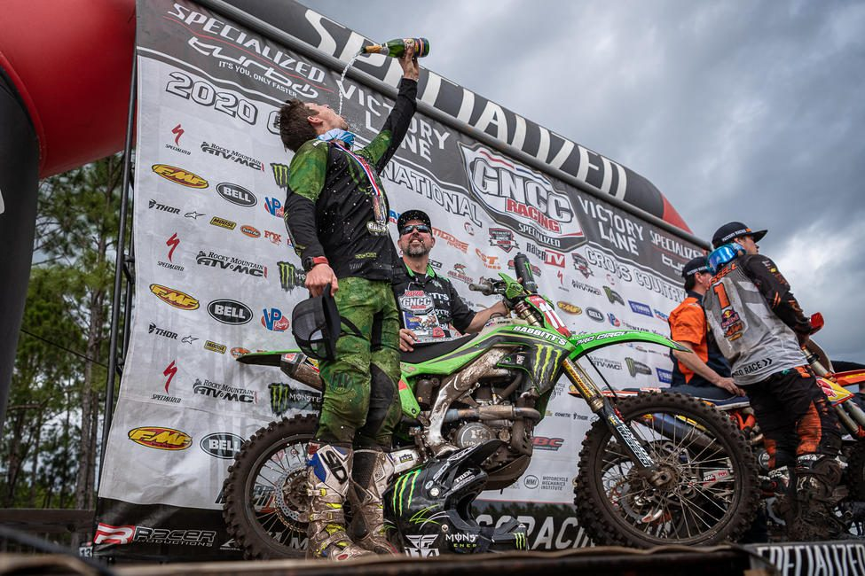 Champagne showers for Strang after claiming second at round two.