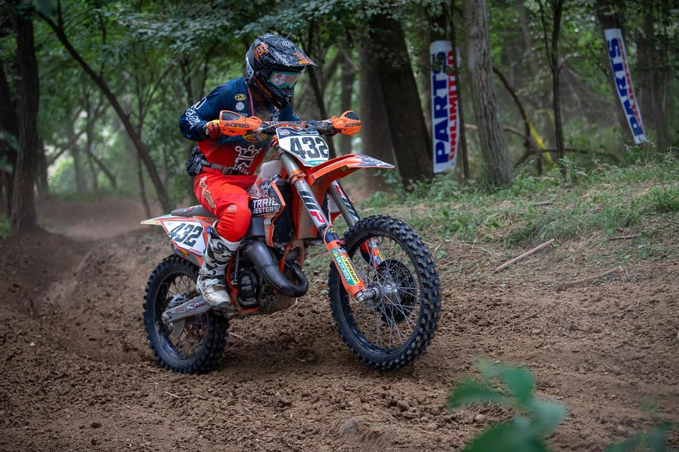 Brayden Nolette on his KTM 125 SX taking his third 150A class win in a row. (Shan Moore photo)